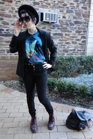 brick red doc martens boots - black JayJays jeans - black thrifted blazer - blac