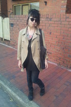camel tulip back thrifted coat - charcoal gray cigarette cut Wrangler jeans