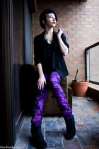 black thrifted boots - amethyst DIY jeans - black bowler hat Myer hat - black th