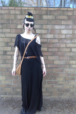 black thrifted top - black Valleygirl dress - bronze tan satchel Sportsgirl bag