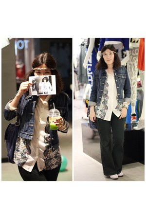 white Promod blouse - blue Levis jacket