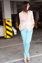 aquamarine Zara pants - light pink H&M blazer - peach hollister top
