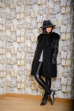 dark gray Dacota design coat - black asos hat