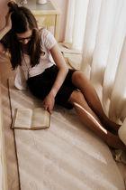 brown Metro pants - white Zara shirt - white EDC cardigan