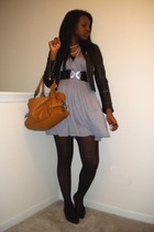 black Wilsons jacket - purple lux uo dress - black tights - brown Urban Outfitte