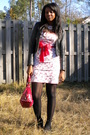 White-hot-topic-dress-black-wilsons-leather-jacket-black-kohls-tights-red-