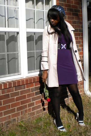 beige Charlotte Russe coat - purple forever 21 goodwill dress - black Party City