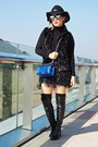 Black-boots-black-h-m-hat-blue-chanel-purse-black-zara-vest