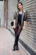 tan Zara blazer - black boots - tan shorts