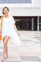 white dress - orange bag
