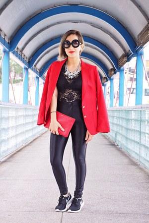 red Nordstrom blazer - black American Apparel leggings - red Celine bag