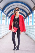 red Nordstrom blazer - black American Apparel leggings - red Celine bag