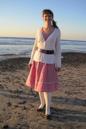 pink thrifted dress - beige Strenesse cardigan - beige Target tights