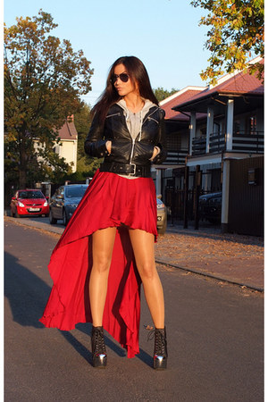 black Zara jacket - black Jeffrey Campbell boots - red Love dress