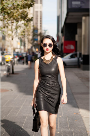 black Zara dress - black vintage Chanel bag - bronze Zara necklace