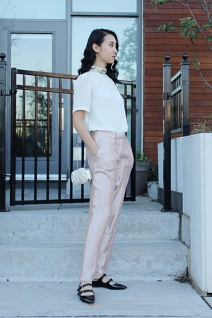 pink glittery H&M pants - black Again & Again shoes - white pearl Aldo bag