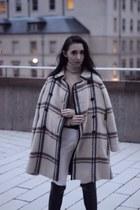 black Michael Kors boots - beige Club Monaco coat - dark brown Louis Vuitton bag