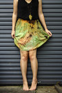 Olive-green-tie-dyed-rayon-selfmade-skirt