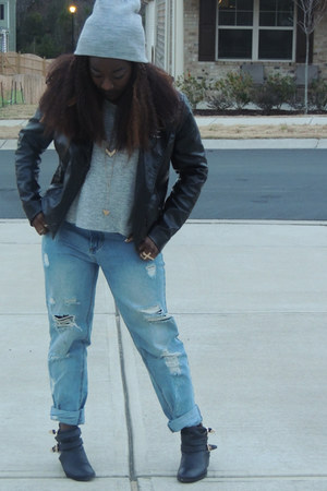 boyfriend Forever 21 jeans - ankle Charlotte Russe boots - H&M jacket
