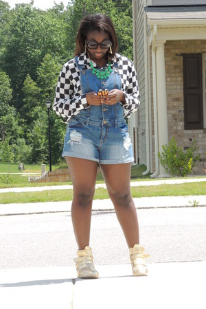 sky blue overalls Forever 21 jeans - black checkered Forever 21 blouse