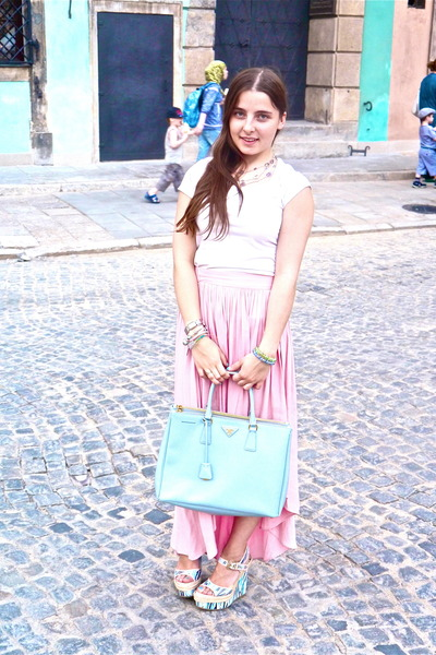 sky blue wedges - bubble gum skirt - white t-shirt