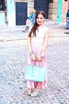 sky blue wedges - bubble gum skirt - white t-shirt