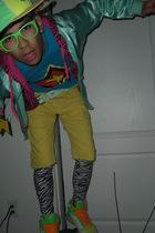 green American Apparel jacket - pink idk sweater - blue Babycakes t-shirt - yell