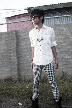 black glasses - white shirt - black Brian Lichtenberg for Alex & Chloe necklace