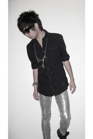 black glasses - black shirt - silver Brian Lichtenberg for Alex & Chloe necklace