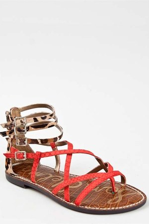 coral strappy exotic sam edelman sandals