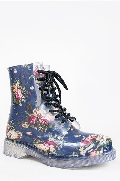"Qupid Boots | ""Qupid PORTLAND-01 Floral Clear Combat Boot"" by ..."