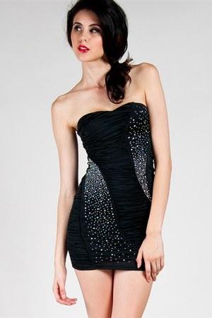 black mini dress tube dress