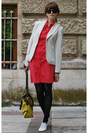 red hm dress - ivory Mango blazer - yellow Paolo Bottiecelli bag - black Ray Ban