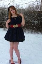 navy Zara dress - ruby red Cheesy girl wedges