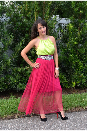 hot pink Effies heart skirt - black Zara shoes - chartreuse TJ Maxx blouse