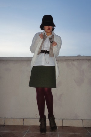 moms vintage skirt - tights - military blouse - gifted Forever 21 cardigan