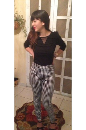 hounstooth pants - black Forever 21 blouse