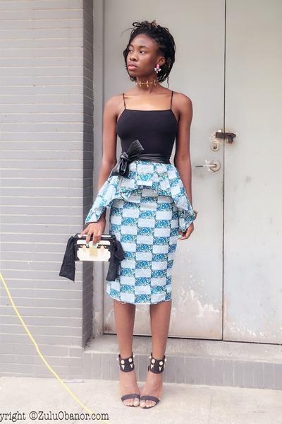belt - bag - skirt - heels - Yescom top - necklace