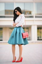asos skirt - Express top - heels wedges
