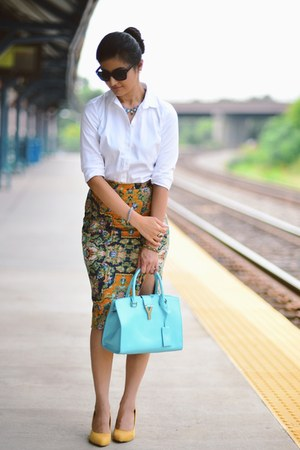 Anthropologie skirt - ann taylor shirt - YSL bag - kate spade sunglasses