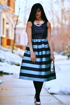 Starlit Stripes - Fit & Flare Midi Dress