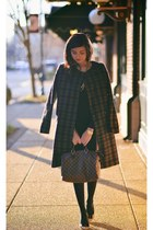 Zara skirt - dark brown plaid coat H&M coat - dark brown Louis Vuitton bag