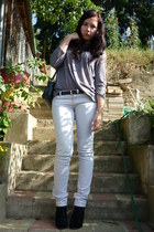 black wedges Topshop boots - off white jeans - silver top