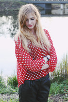 polka dot romwe shirt - faux leather F&F shorts