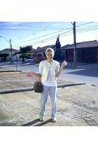 silver Extra pants - white Riachuelo t-shirt - white Zara shoes - white vintage