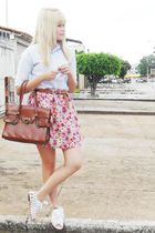 white Siberian shoes - brown vintage bag - brown vintage belt - Laysa Rosa skirt