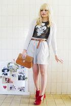 beige Zara cardigan - brown Zara t-shirt - brown vintage belt - beige Laysa Rosa