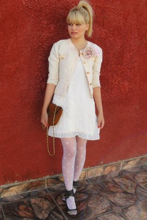 beige vintage jacket - beige Laysa Rosa dress - white lupo socks - silver carran