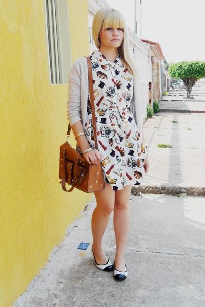 white Riachuelo shoes - white vintage dress - silver Zara cardigan