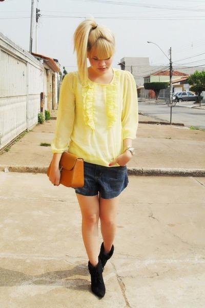 yellow Laysa Rosa blouse - blue boyfriend shorts - brown vintage bag - black vin